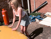 Well stacked blonde Sienna Day gives blowjo outdoor and gets her slit rammed right on the car hood