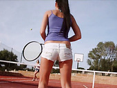 Two babes Joanna and Veronika are making love right on the tennis court
