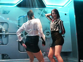 Two slutty girlfriends are dancing under the shower in one private club