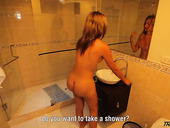 Seductive bootyful shemale Silvia Santana is taking a shower