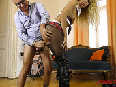 Skinny blonde in ripped pantyhose Monique Woods is impaled on hard old cock