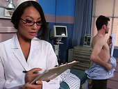 Super sexy nurse Asa Akira gives blowjob and gets fucked