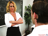 Big tittied teacher Janna Hicks has a quickie with one perverted student