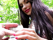 Hot tempered bitch Sasha Rose is having nookie in the bushes