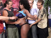 Several white dudes fuck sex-starved ebony harlot with big boobs Layton Benton