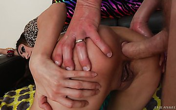 Trashy looking harlot Moka Mora takes meaty dong in her stretched butt hole