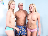 One dude fucks two naughty blonde and sexually charged bitch Summer Day