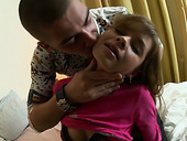Petite girlfriend Roberta is fucked hard by hot tempered big boyfriend