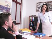 Libidinous secretary Linda Moretti seduces her boss and he fucks her right on the table
