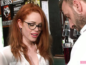 Slutty red haired babe Ella Hughes is fucked in the bar