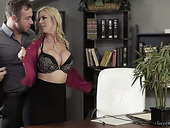 Engaged secretary Alexis Fawx is fucked by hot tempered boss right on the table