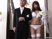 Whorish Japanese braid Mirei Oomori sucks dick at the altar