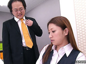 Young employee Serina gives blowjob to her perverted ugly boss