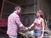 Horny village chick Dosya gives her head and gets rammed under a canopy