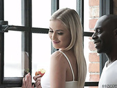 Sensual babe Cayla Lyons enjoys sucking giant black hose and gets her muff rammed