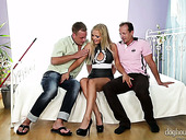 Hussy in sexy lingerie Jenna Lovely enjoys having crazy sex with duo of dudes