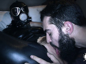 Mistress wearing latex crotchless outfit is fucked hard by one bearded guy
