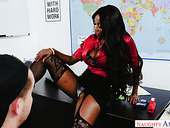Black teacher with massive fake boobs Diamond Jackson rides white dick right on the table