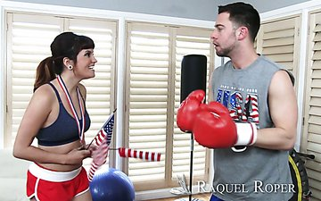 Sport bitch Raquel Roper enjoys having crazy nookie with her faintness instructor