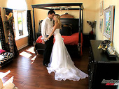 Hot tempered groom fucks his sexy bride Tasha Reign in different positions
