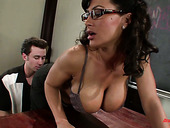 Mega busty teacher Amy Ried is fucked hard by hot tempered student