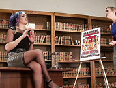 Slutty shemale in stockings Kelli Lox fucks nasty librarian