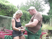 Village whore Claudia is fucked by horny farmer in broad daylight