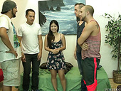 Petite Asian chick Asia Zo is fucked hard by four sex-hungry dudes