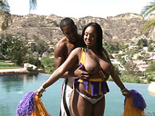 Big bottomed ebony cheerleader Layton Benton gets fucked by the pool side