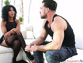 Black bitch Misty Stone goes wild on hard and white dick