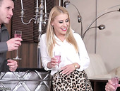 Blond hottie Nikky Thorne is attacked by two hard and meaty dongs