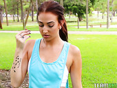 Sport babe Aubrey Rose seduces one strong dude and sucks his meaty shlong