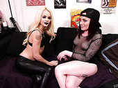 Tattooed bitch Elsa Jean and her sassy girlfriend are fucked by one stud