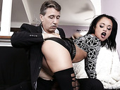 Pretty hot bitch Holly Hendrix takes dick in her throat and wet anal hole
