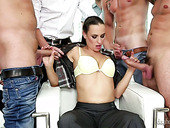 Multi-talented whore Mea Melone is having crazy sex with several studs