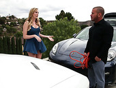 Fucking hot chick Brett Rossi gives massage to one horny guy and rides his hose