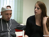 Young red head Marie Skyler takes part in exciting gangbang scene