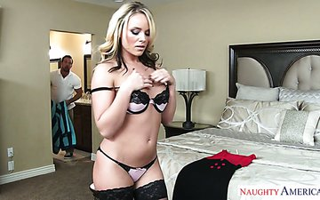 Splendid blonde in stockings and sexy lingerie Alexis Monroe has a quickie with one hot tempered stud