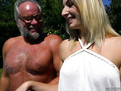 Yummy young blonde Aria Logan is having crazy sex with old fart