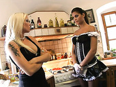 Maid in sexy uniform fucks pussy of sexually charged blonde Stacy Silver