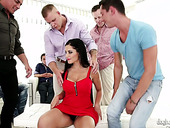 Juggy seductress Kate Black is fucked by several sex-starved studs