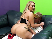 Insatiable blonde AJ Applegate stimulates her clit with vibrator during hot sex