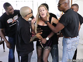 Crazy blowbang and gangbang for super sexy white blond chick Cherie Deville