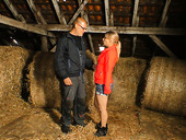 Village blond chick Verka seduces one farmer and has a quickie in hayloft