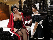 Big tittied British mistress Jasmine Jae enjoys eating maid's tasty pussy