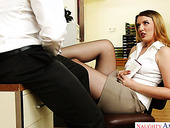 Whorish secretary Shauna Skye is fucked right on the table