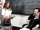 Perverted teacher fucks skinny college chick in short skirt Rebel Lynn