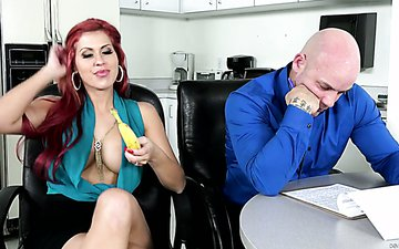 Slutty red haired milf Savana Styles is fucked by horny stud