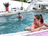 Yummy slender chick Tori Black is fucked hard by the poolside