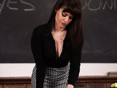 Gorgeous cleavage of sexy and strict teacher Zoe Page